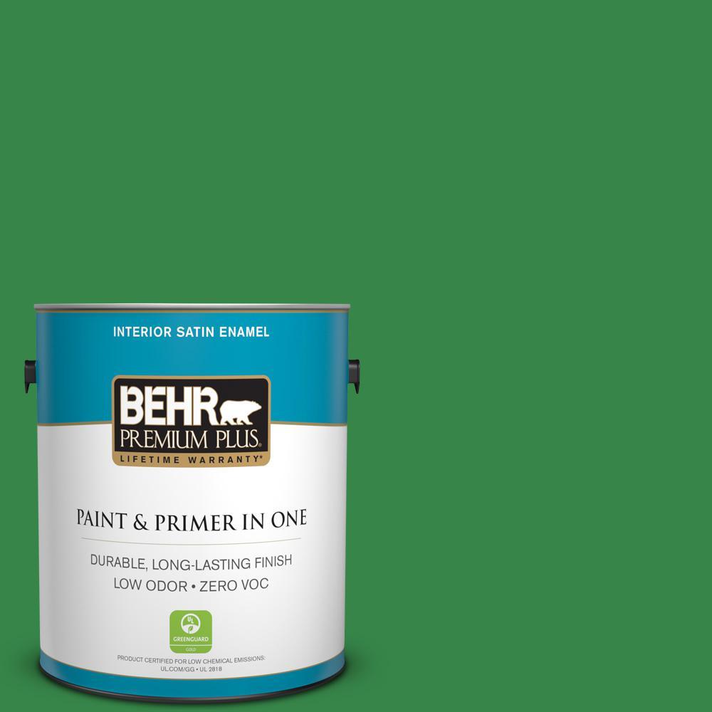 BEHR Premium Plus 1-gal. #450B-7 Green Grass Zero VOC Satin Enamel Interior Paint