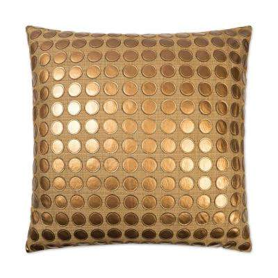 Love Game Bronze Feather Down 24 in. x 24 in. Standard Decorative Throw Pillow