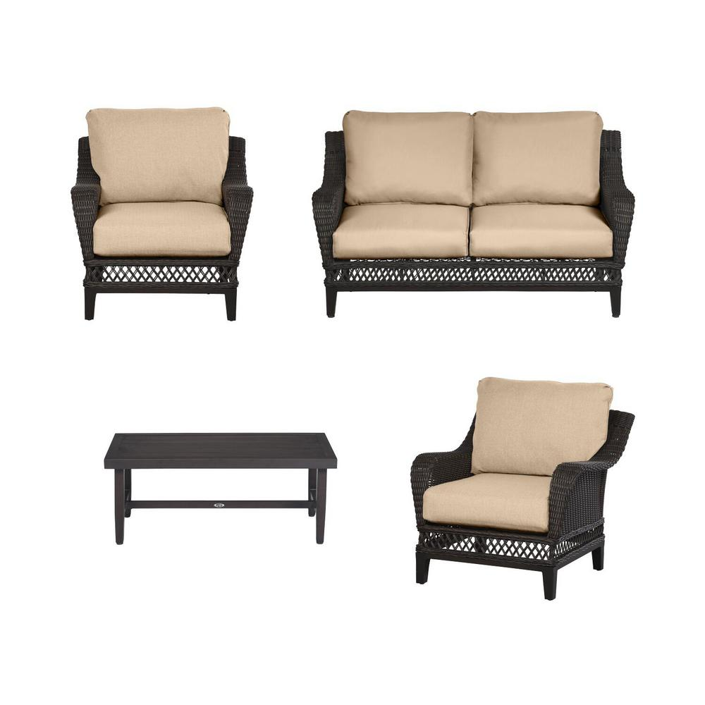 Woodbury 4-Piece Dark Brown Wicker Outdoor Patio Seating Set with CushionGuard Toffee Tan Cushions