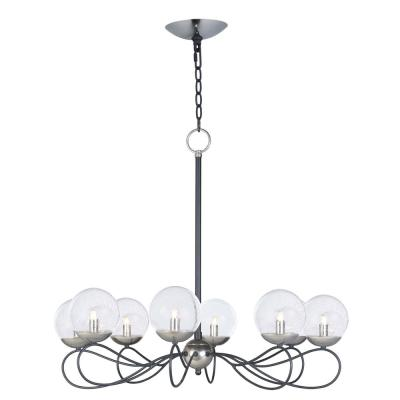 Reverb 31 in. W 8-Light Textured Black/Polished Nickel Chandelier with Bubble Glass Shade