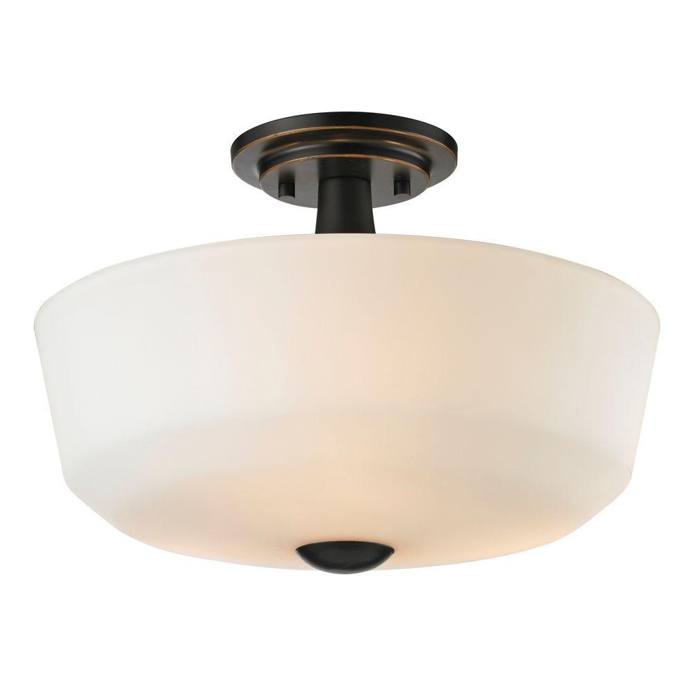Chic 3-Light Coppery Bronze Semi-Flush Mount Light