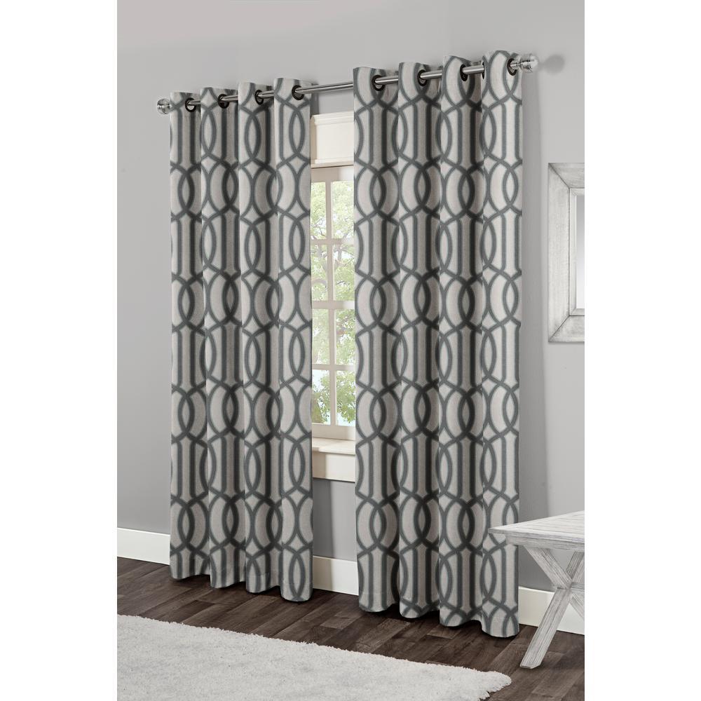Trincity Steel Blue Grommet Top Window Curtain