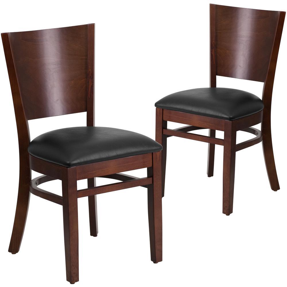 Black Vinyl Seat/Walnut Wood Frame Restaurant Chairs (Set of 2)
