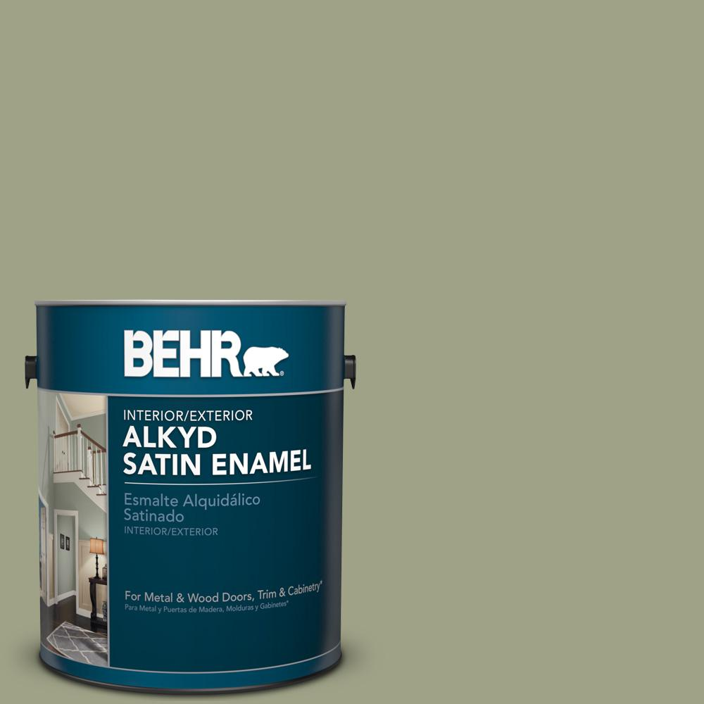 1 gal. #AE-35 Shaded Moss Satin Enamel Alkyd Interior/Exterior Paint