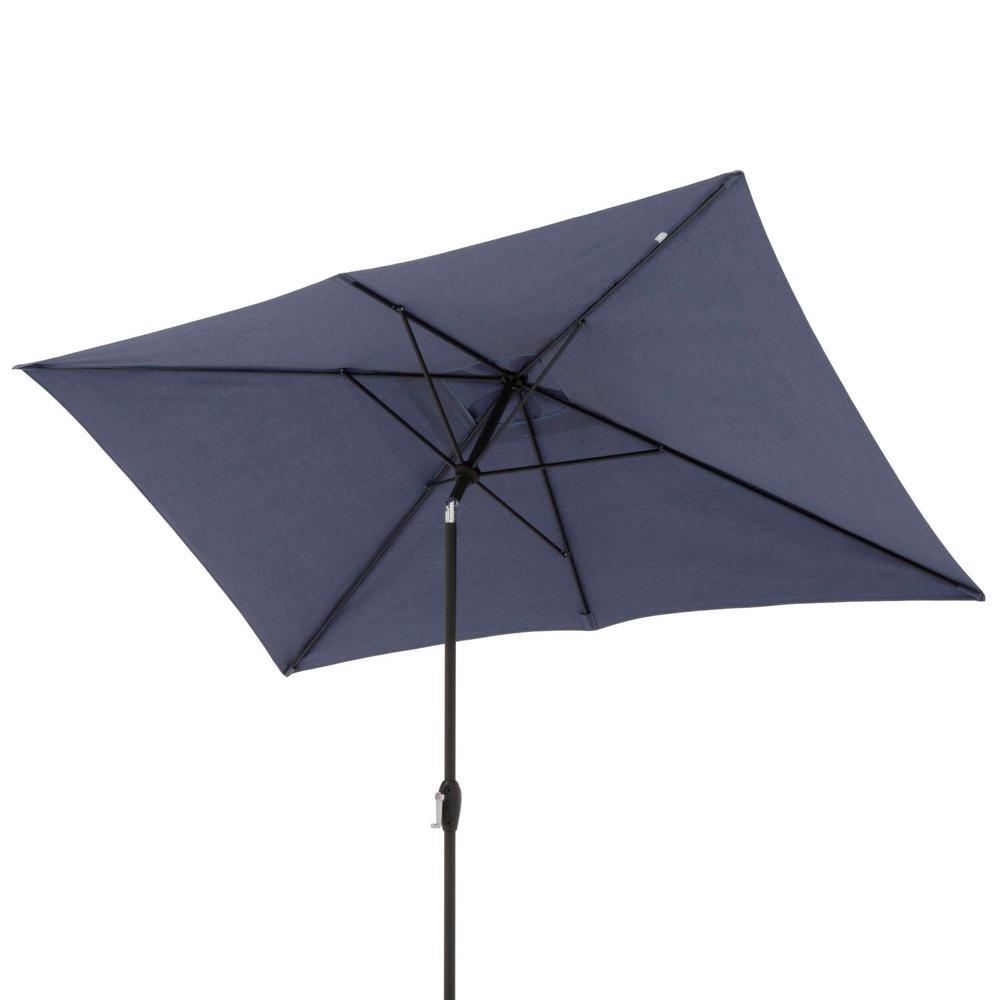 10 ft. x 6 ft. Aluminum Patio Umbrella in Sky Blue with Push-Button Tilt