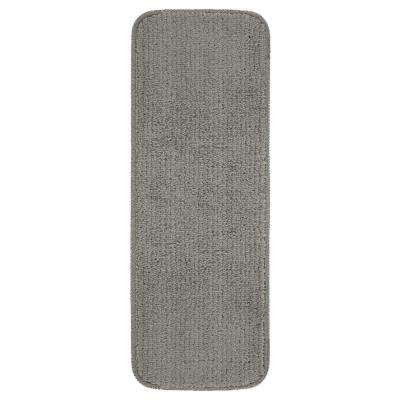 Comfort Collection Grey 9 in. x 26 in. Rubber Back Plush Stair Tread (Set of 14)