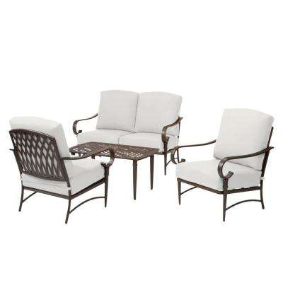 Oak Cliff Brown 4-Piece Steel Outdoor Patio Conversation Seating Set with CushionGuard Chalk White Cushions