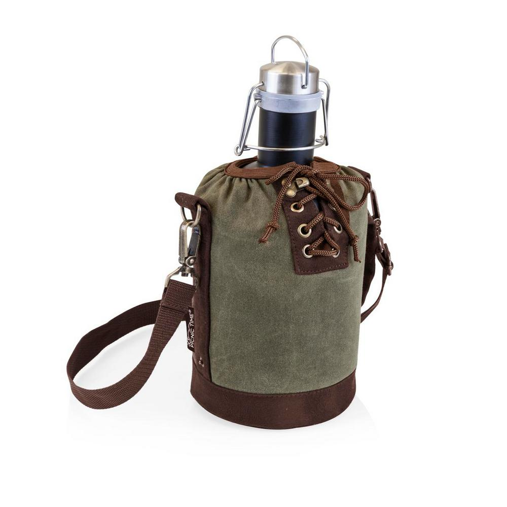 Khaki Green and Brown Insulated Growler Tote with Matte Black 64