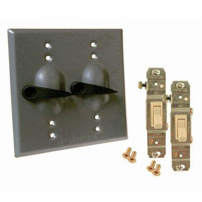 2 Gang Weatherproof Toggle Switch Cover Kit