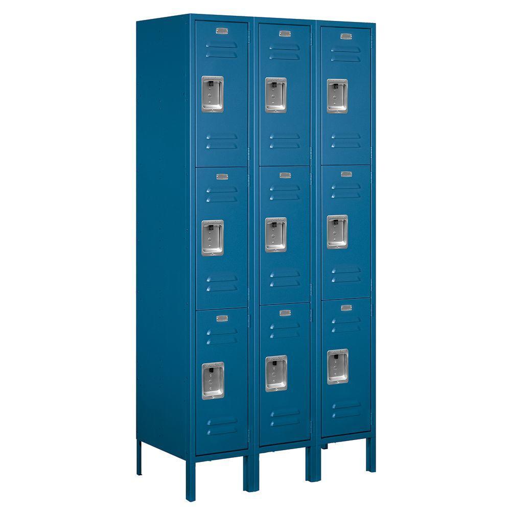 63000 Series 36 in. W x 78 in. H x 18 in. D - Triple Tier Metal Locker Unassembled in Blue