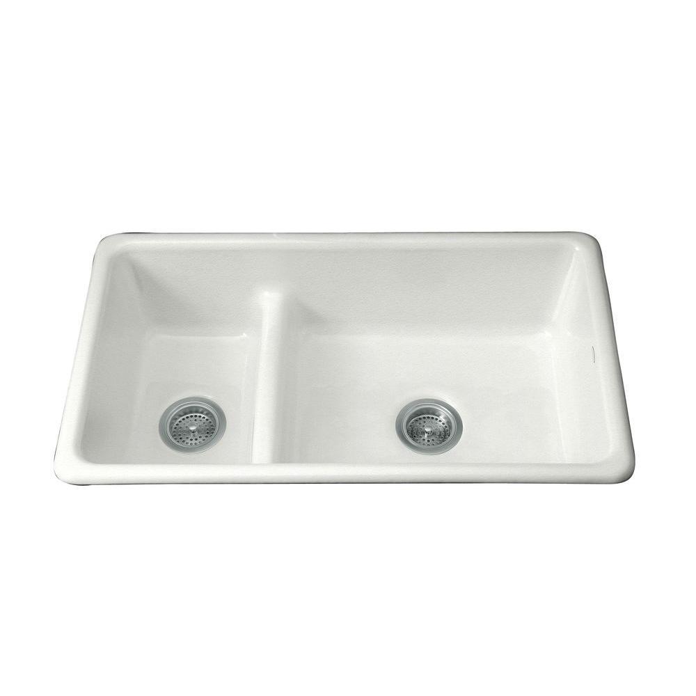 KOHLER Dual Mount Cast-Iron 33 in. Double Basin Kitchen Sink in Sea Salt