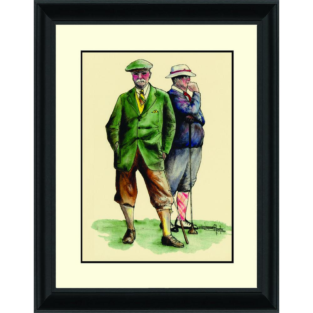 14.in x 16.25.in''Two Gentleman Golfers'' By PTM Images Framed