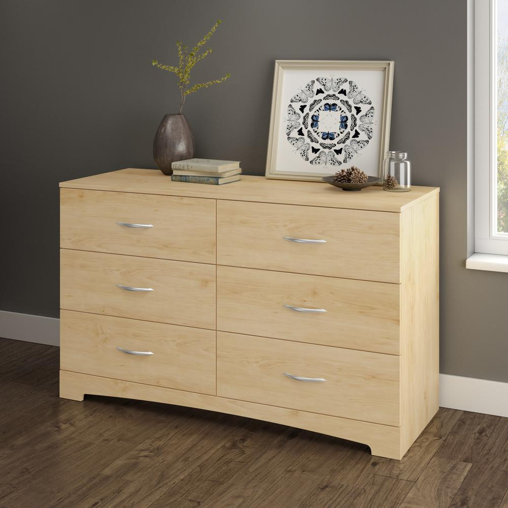 South Sstep One 6 Drawer Natural Maple Dresser 3113010 The Home Depot