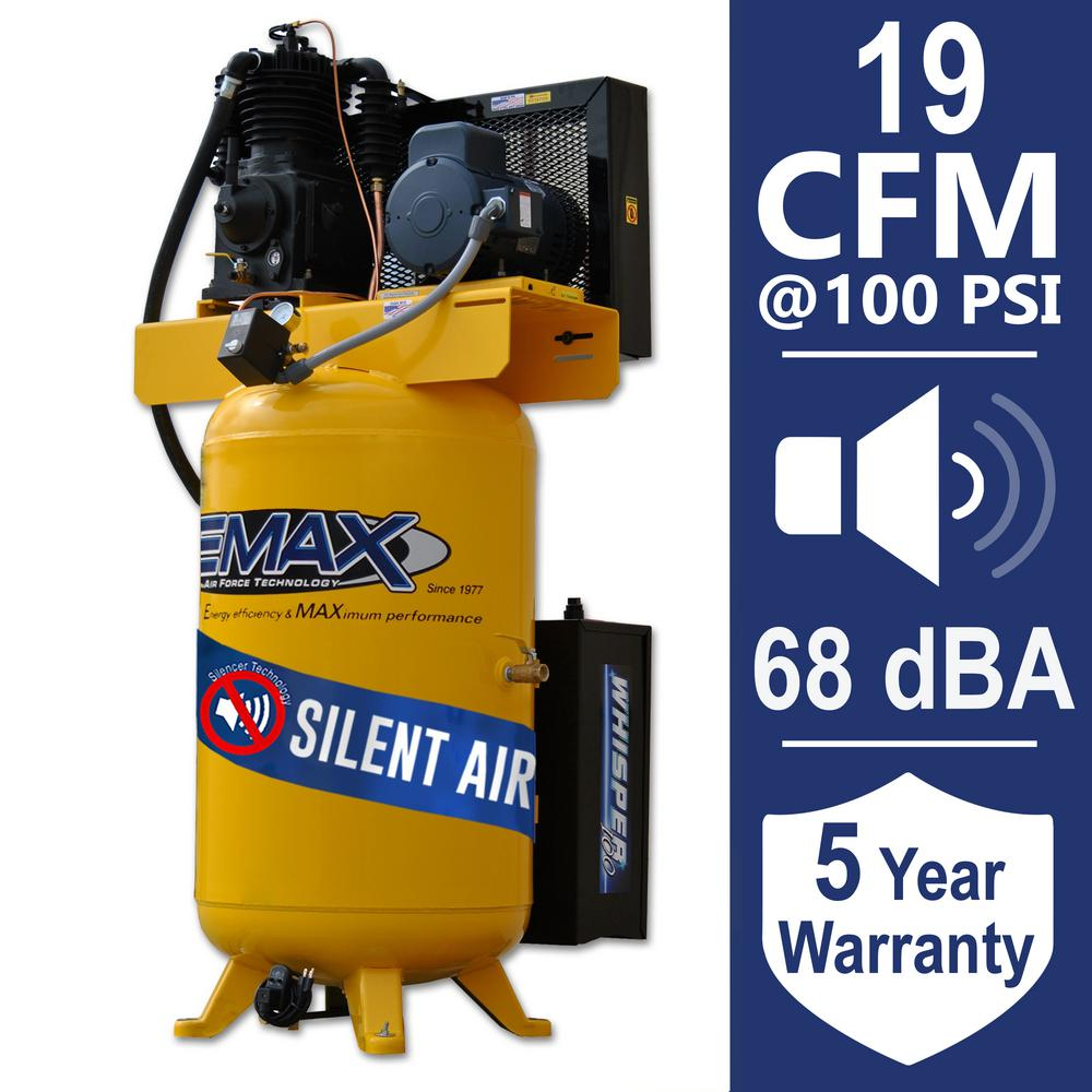 EMAX Industrial PLUS 80 Gal. 5 HP 1-Phase Silent Air Electric Air Compressor