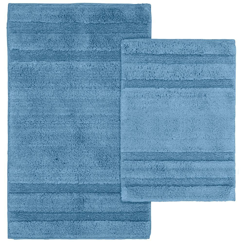 Garland Rug Majesty Cotton Sky Blue 21 in. x 34 in. Washable Rug 2-Piece Rug Set