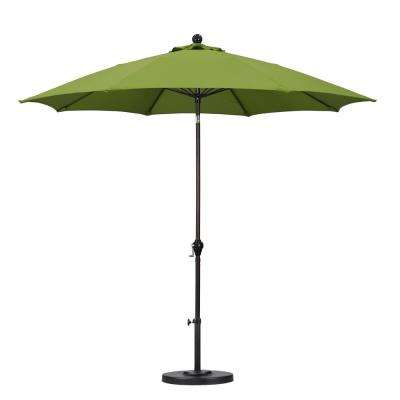 9 ft. Fiberglass Push Tilt Patio Umbrella in Lime Green Polyester