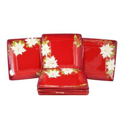 Pleasant Poinsettia Red Dinner Plate (Set of 8)