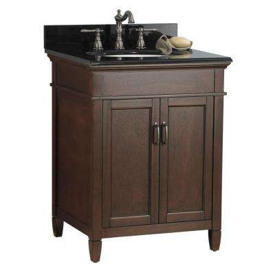 Ashburn 25 in. W x 22 in. D Bath Vanity in Mahogany with Granite Vanity Top in Black