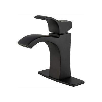 Venturi 4 in. Centerset Single-Handle Bathroom Faucet in Matte Black