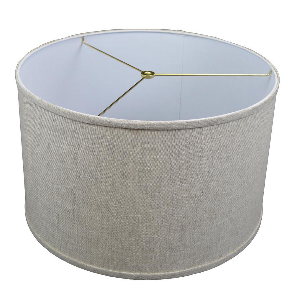 18 in. Top Diameter x 18 in. Bottom Diameter x 11 in. H Designer Linen Oatmeal Drum Lamp Shade