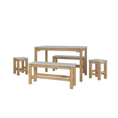 Stillwell 47.25 in. 5-Piece Gray and Natural Wood Rectangle Dining Set