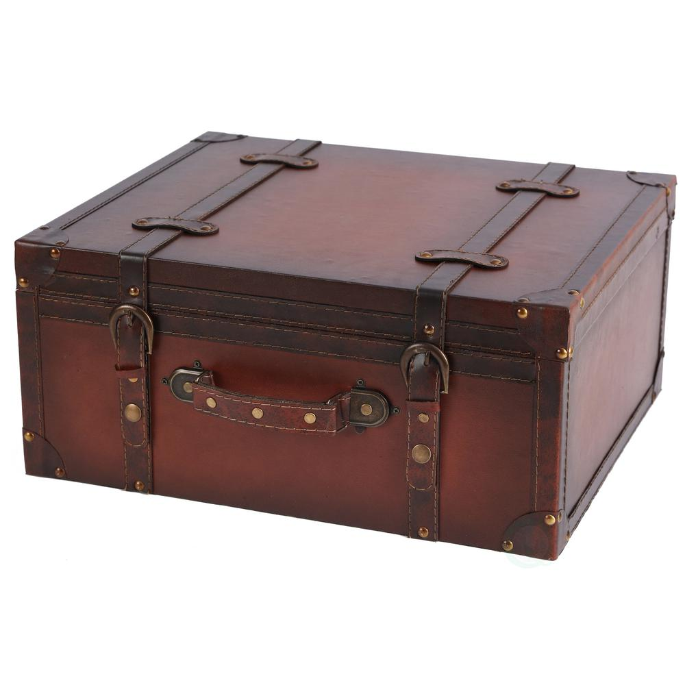 Vintiquewise Vintage Style Leather Suitcase Cd Case Storage Box