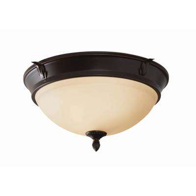 15 in. 2-Light Oil-Rubbed Bronze Flush Mount with Glass Shade