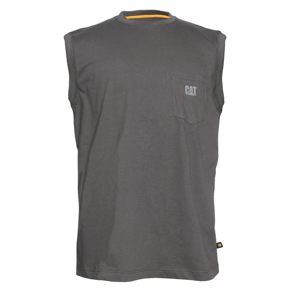 bea52648c20 Caterpillar Trademark Men's Size Large Dark Shadow Cotton Sleeveless Pocket  T-Shirt