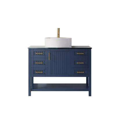 Modena 42 in. Bath Vanity in Blue with Tempered Glass Vanity Top in Black with White Vessel Sink