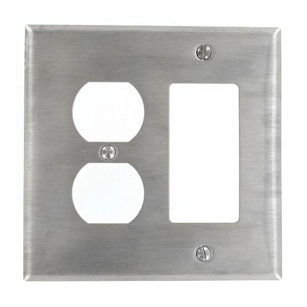 leviton 2gang midway size 1duplex receptacle 1decora combination wall plate