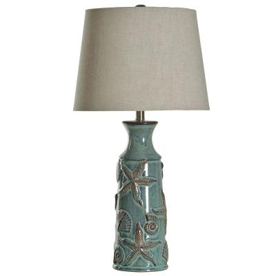 29 in. Blue Bay Table Lamp with Beige Hardback Fabric Shade