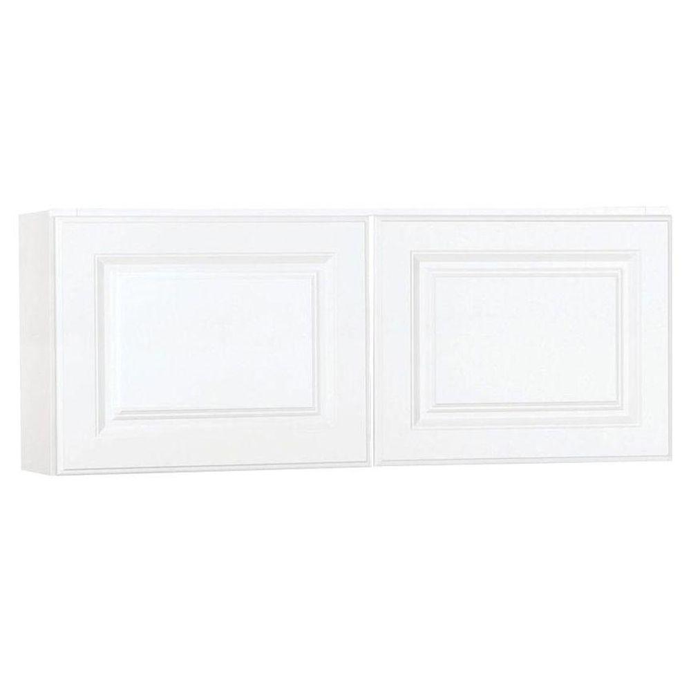 Hampton Assembled 30x18x12 in. Wall Bridge Kitchen Cabinet in Satin White