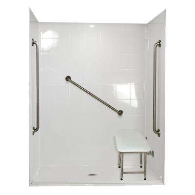 Standard Plus 36 33 in. x 60 in. x 77-3/4 in. Barrier Free Roll-In Shower Kit in White with Center Drain