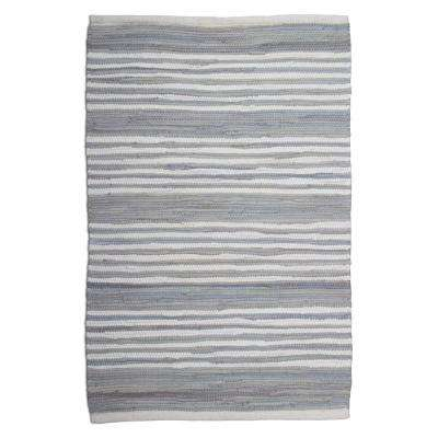 Chindi Stripe Light Blue 2 ft. x 3 ft. Area Rug