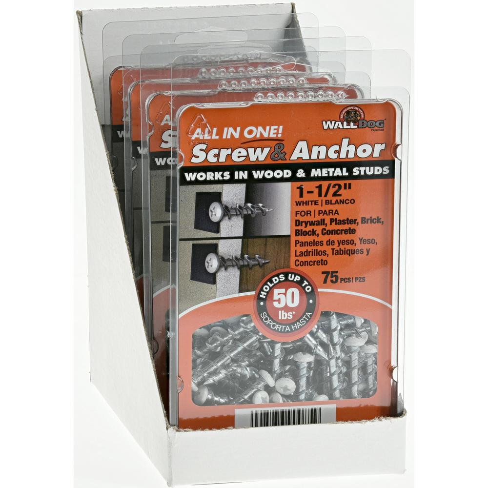 """NEW Wall Dog Screw and Anchor 1-1//2/"""" Chrome Plated Wood /& Metal 50lb Hold 25 pcs"""