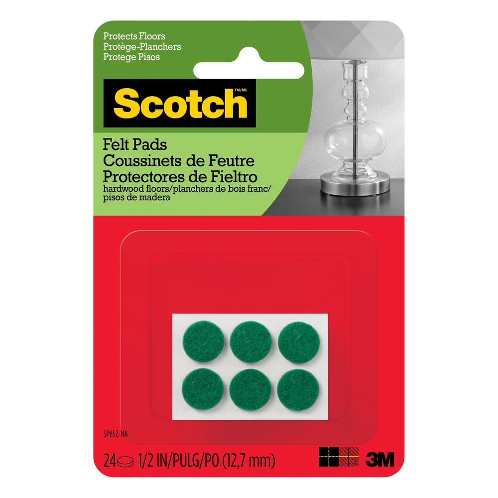 Scotch 1/2 in. Green Round Surface Protection Felt Floor Pads (24-Pack)