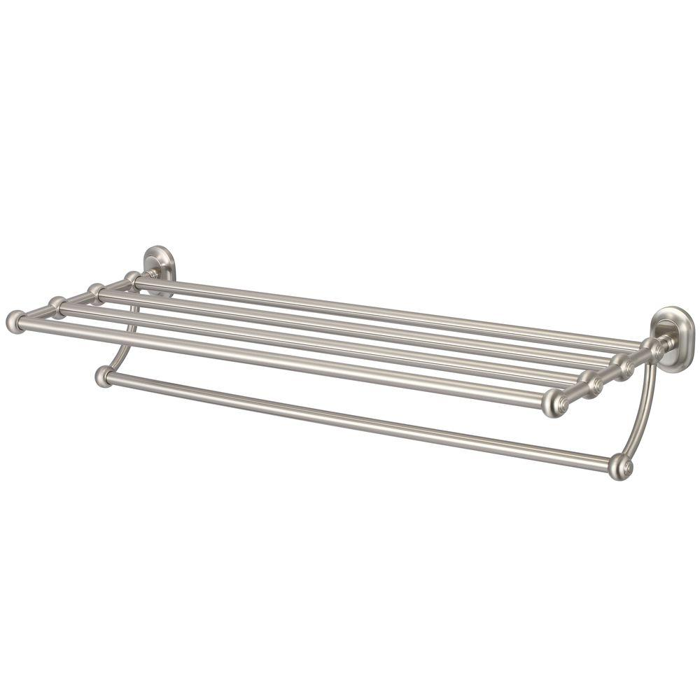 Water Creation 29 in. Towel Bar and Bath Train Rack in Brushed ...