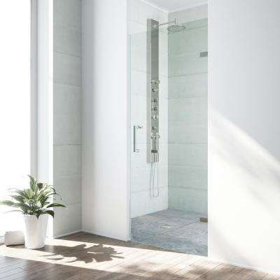 SoHo 28 in. to 28.5 in. x 70.625 in. Frameless Pivot Shower Door in Stainless Steel with 3/8 in. Clear Glass