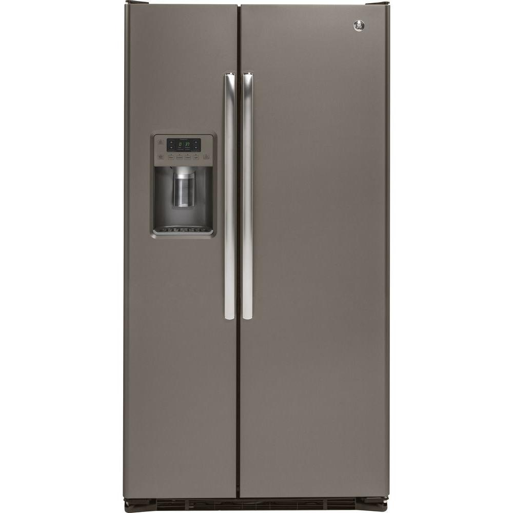 GE 36 in  W 21 9 cu  ft  Side by Side Refrigerator in Slate with Icemaker,  Counter Depth, Fingerprint Resistant