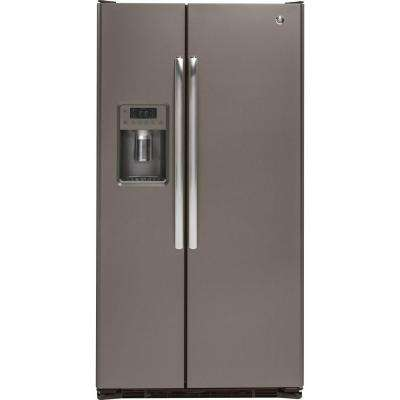 36 in. W 21.9 cu. ft. Side by Side Refrigerator in Slate with Icemaker, Counter Depth, Fingerprint Resistant