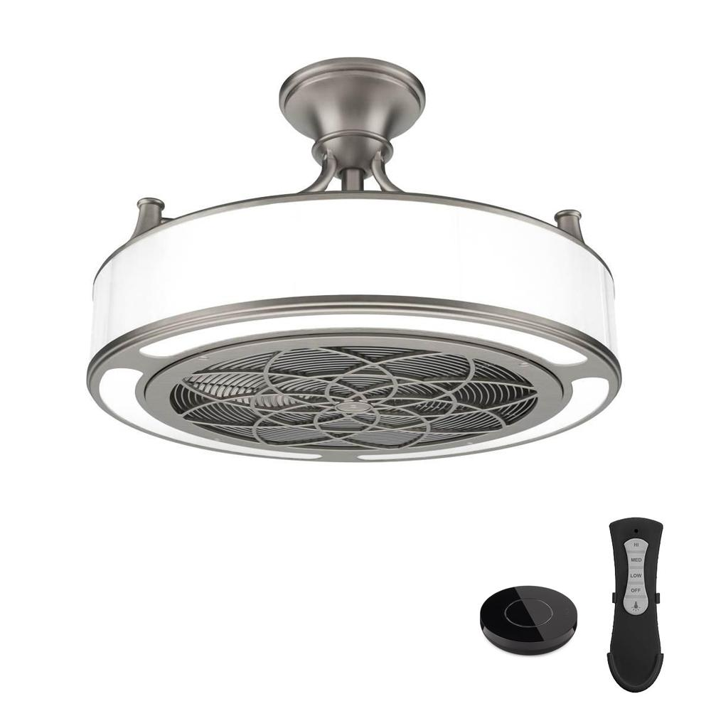 Stile Anderson 22 in. LED Indoor/Outdoor Brushed Nickel Ceiling Fan with Remote Control works with Google and Alexa