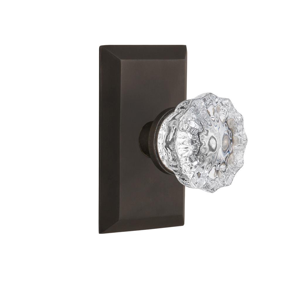 Studio Plate 2-3/8 in. Backset Oil-Rubbed Bronze Passage Crystal Glass Door Knob