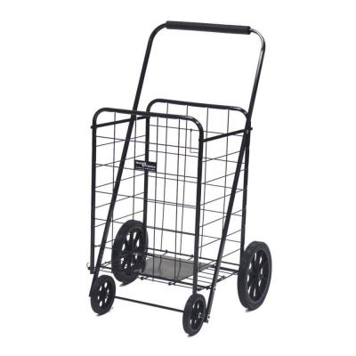 Super Shopping Cart Black Steel Cleaning Cart with Base Plate