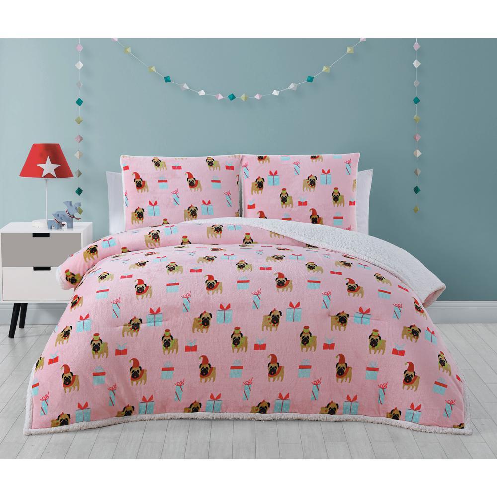 Festive Pups Pink Twin Plush/Sherpa Comforter Set