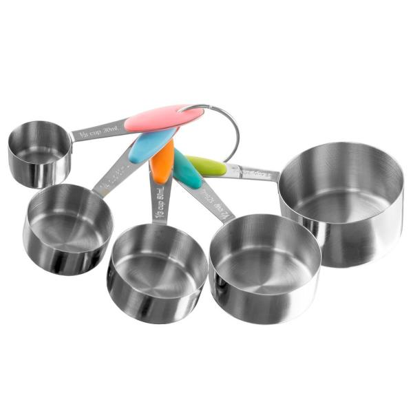 c79eadcae2f Classic Cuisine 5-Piece Stainless Steel with Silicone Measuring Cup ...