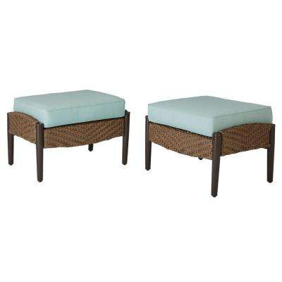 Bolingbrook Patio Ottoman with Spectrum Mist Cushions (2-Pack)