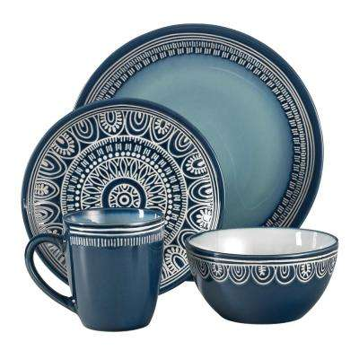 Tribal 16-Piece Casual Teal Porcelain Dinnerware Set (Service for 4)