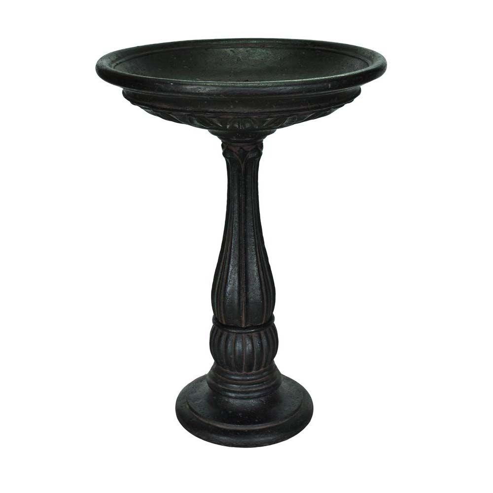 Aged Charcoal Finish Cast Stone Birdbath