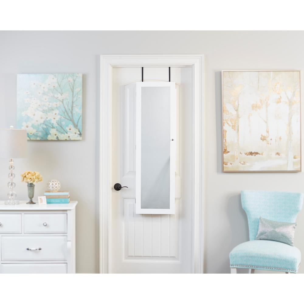 InnerSpace Luxury Products White Mirrored Jewelry Armoire