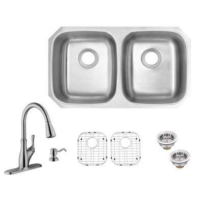 All-in-One Undermount 18-Gauge Stainless Steel 32 in. 50/50 Double Bowl Kitchen Sink with Pull-Out Kitchen Faucet